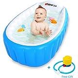 Locisne Baby Inflatable Bathtub Children Anti-Slippery Swimming Pool Foldable Travel Air Shower Basin Seat Baths Big Size(for 0-3 Years) + air Pump