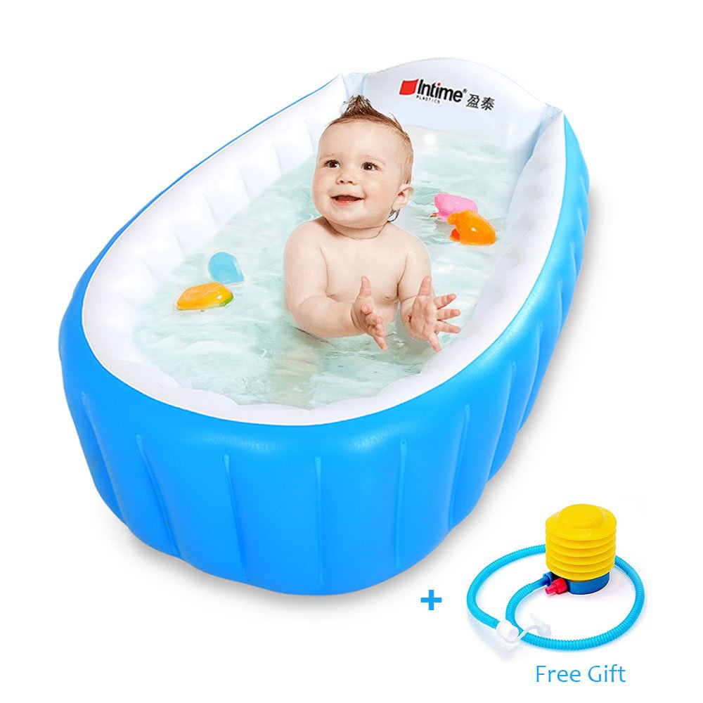 Baby Inflatable Bathtub Intime Children Anti-slippery Swimming Pool Foldable Travel Air Shower Basin Seat Baths Big Size(For 0-3 Years) With Air Pump (Packaging May Vary) by Intime