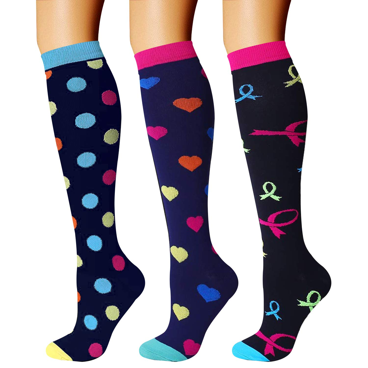 CHARMKING Compression Socks (3 Pairs) 15-20 mmHg is Best Athletic & Medical for Men & Women, Running, Flight, Travel, Nurses, Edema - Boost Performance, Blood Circulation & Recovery (S/M, Assorted 08) by CHARMKING