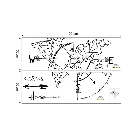 Decalmile Geometric World Map Wall Stickers With Nautical Compass