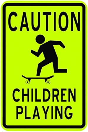 Design with Vinyl Design 225 Caution Children Playing Road Sign Peel and Stick Vinyl Wall Decal Sticker Black 9-Inch by 18-Inch