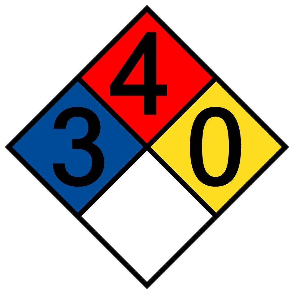 ComplianceSigns Aluminum NFPA 704 Hazmat Diamond Sign with 3-4-0-0 Rating, 15 x 15 in. Multi Color