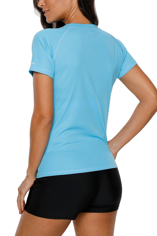 Vegatos Womens Short Sleeve Swim Shirt UV Protection Workout Shirts Athletic Top by Vegatos (Image #3)