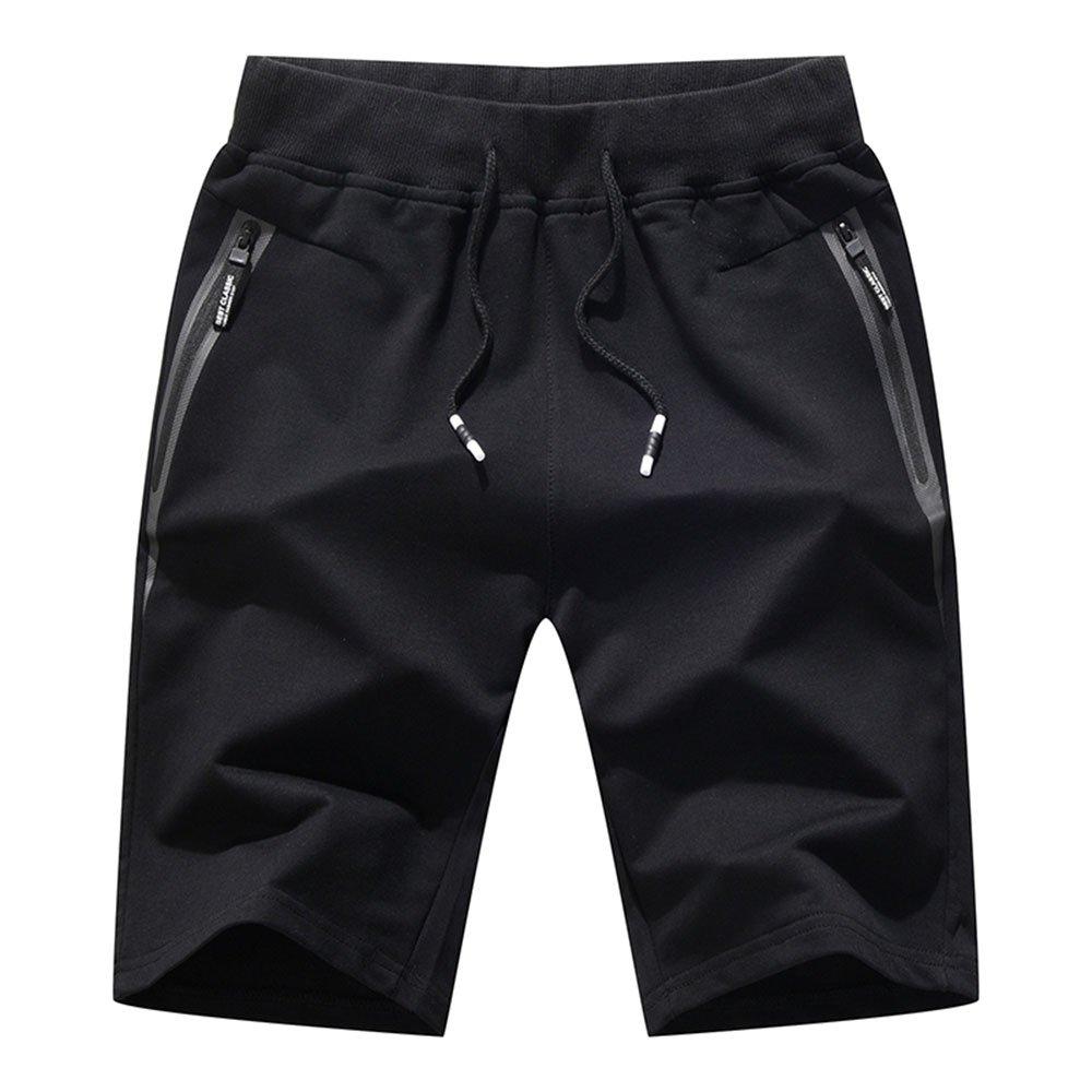 Tansozer Men's Cotton Casual Fit Shorts,Elastic Waist Short Pants with Zipper Pockets Fashion Shorts Summer(Large, Black)