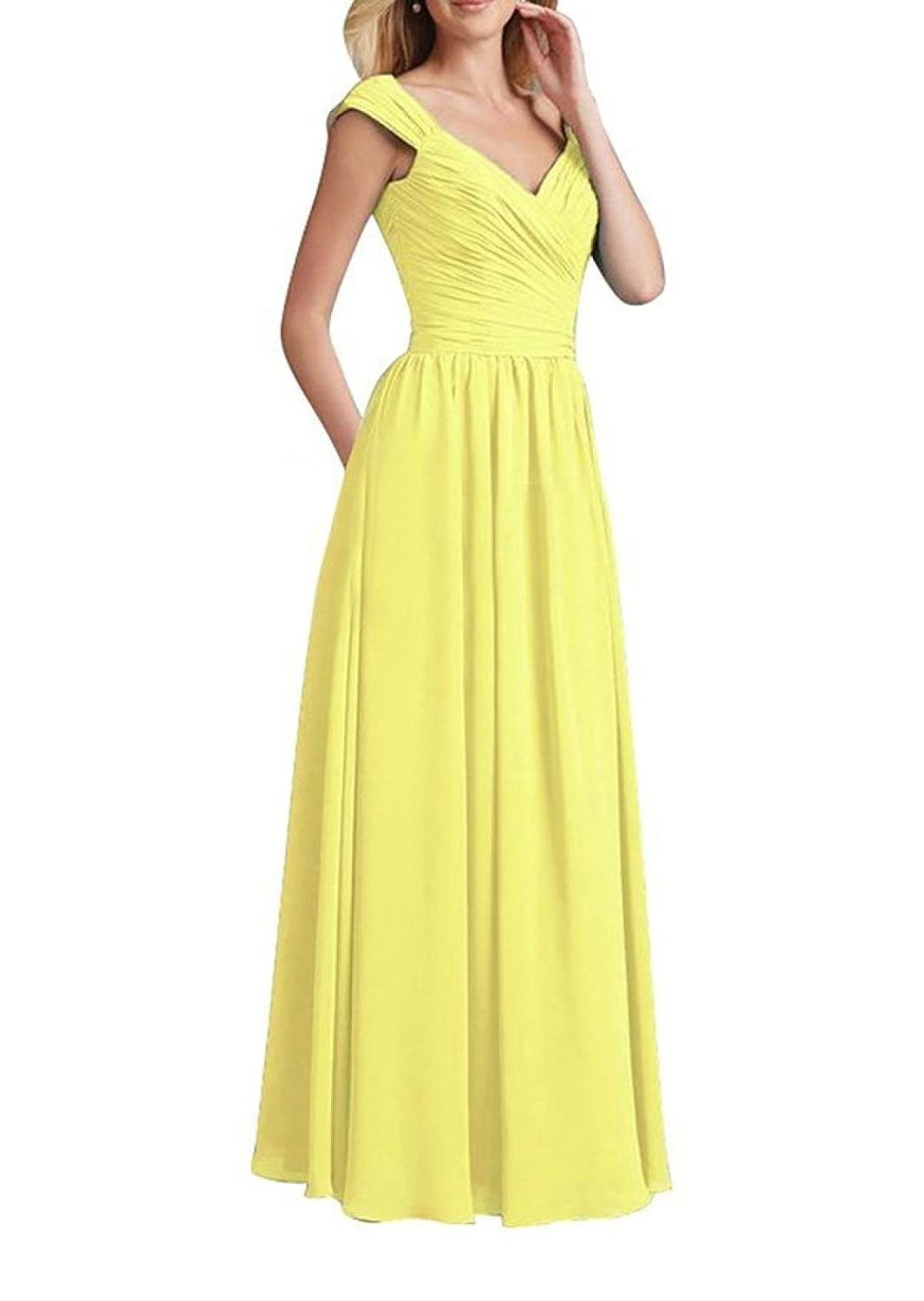 MeiZiWang Sommer Brautkleid Partykleid,Yellow-S