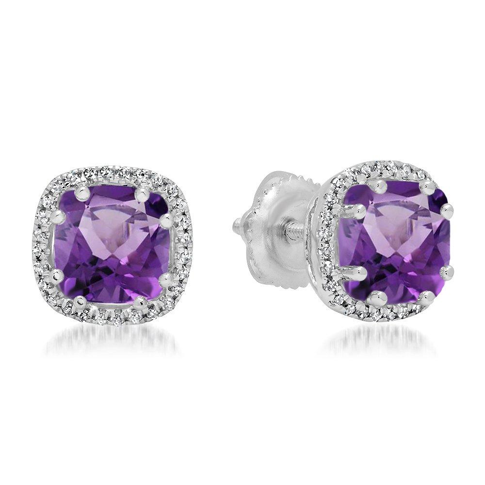 14K White Gold Cushion Cut Amethyst & Round Cut White Diamond Ladies Halo Style Stud Earrings
