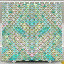 Watercolor Mermaid Scale Shower Curtain Fabric Bathroom Shower Curtain Set,72x60 Inch