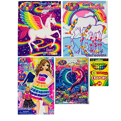 Coloring Bookリサ・フランク・バンドルCrayolaクレヨン24ctステッカーCollector `s Set Over 200ステッカーDiva Fashions dress-upステッカー人形for Girls Kids Toddlers