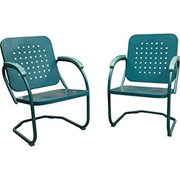 Hanover 2 Piece Retro Outdoor Steel Patio Set, Caribbean Blue