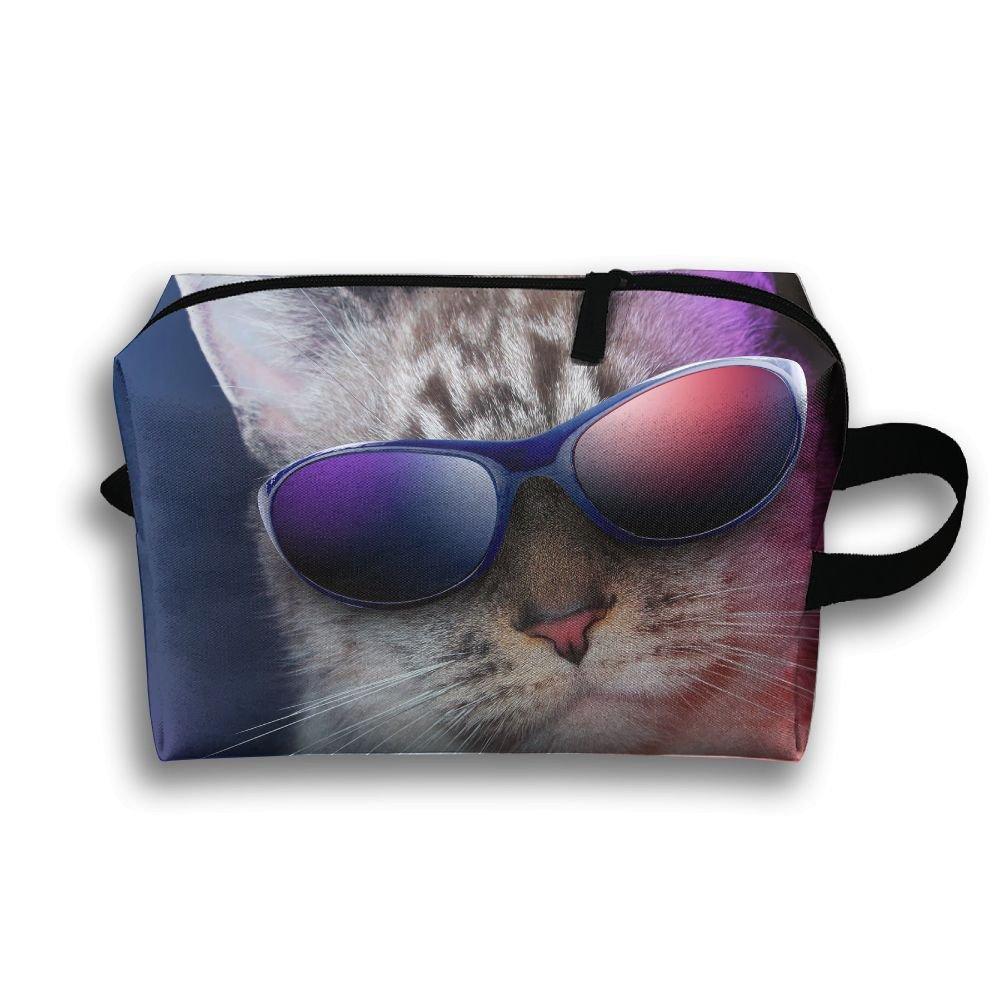 Cool Cat Sunglasses Cosmetic Bags Makeup Organizer Bag Pouch Zipper Purse Handbag Clutch Bag