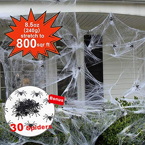 800 sqft Spider Webs Halloween Decorations Bonus with 30 Fake Spiders, Jumbo Super Stretch Cobweb for Halloween Indoor and Outdoor Party Supplies