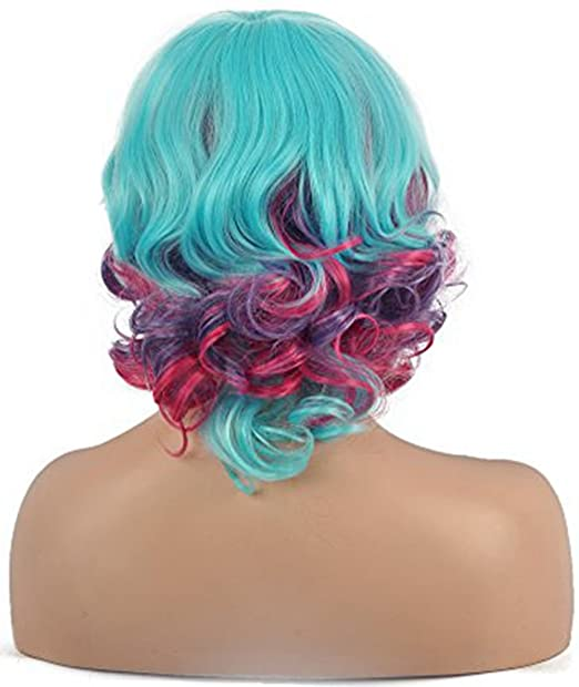Amazon.com: Diy-Wig Mixed Blue Purple Bottom Culry Womens Ombre Blue Purple Short Curly Wig Oblique Bangs Cosplay Costume Wigs: Beauty