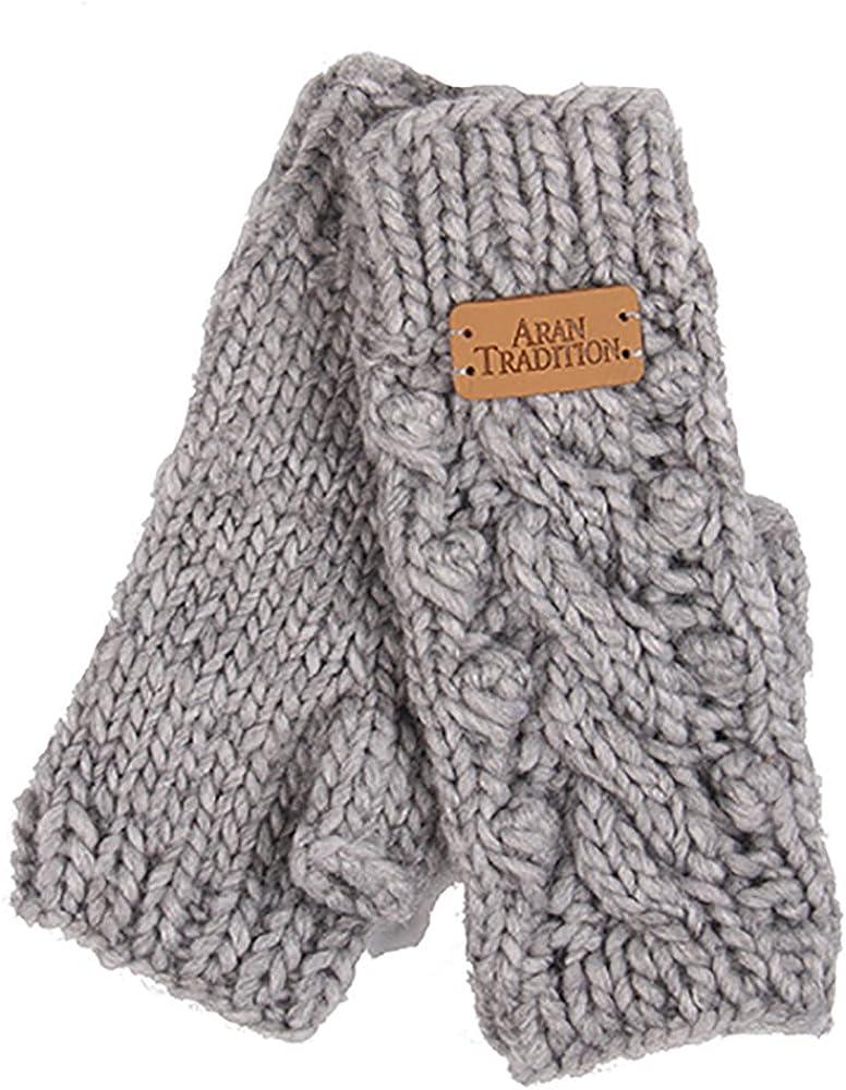 Aran Traditions Womens Ladies Winter Fingerless Pebble Beige Hand Knit Gloves