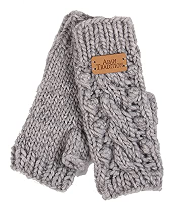 Aran Traditions Silver Grey Marl Aran Lace Cable Fingerless Mitts
