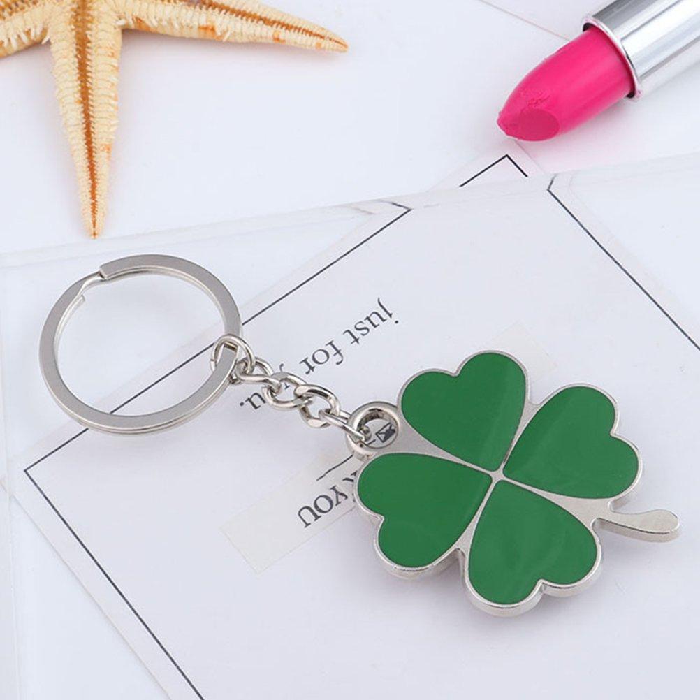 Patrick Day Birthday Friends Holiday Gift luoem Lucky Clover Keychain Porte-cl/és de charme de tr/èfle de quatre feuilles Porte-cl/és pour ST