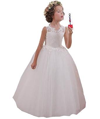 095ad9060c291 KekeHouse® Appliques Robe Longue de Cérémonie Fille Enfant Mariage Sans  manches Arc  Amazon.fr  Vêtements et accessoires