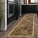 """kitchen rugs and runners Ottomanson Ottohome Collection Beige Contemporary Paisley Design Modern Skid (Non-Slip) Rubber Backing (20""""X59"""") Kitchen and Bathroom Runner Area Rug, 20"""" x 59"""","""