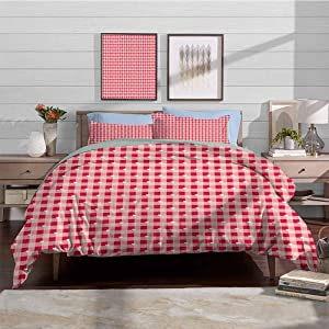 Duvet Cover Set Quilt cover Abstract Soft Lightweight Quilt Covers Cute Heart Forms over Striped Backdrop Girls Kids Love Valentines Image Decorative 3 Piece Bedding Set with 2 Pillow Shams, Full Size