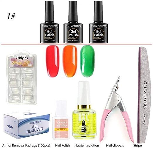 FOONEE Jelly Gel Set de Esmalte de uñas - Crystal Soak Off UV Kit ...