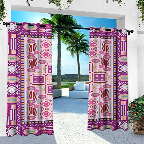 Hengshu Afghan, Outdoor Privacy Porch Curtains,Traditional Oriental Design with Simplistic Geometric Shapes Eastern Culture Motif, W84 x L96 Inch, Multicolor