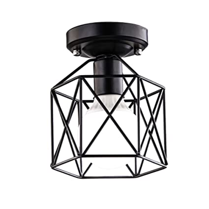 Baycheer Hl428266 Industrial Vintage Style Square Semi Flush Mount