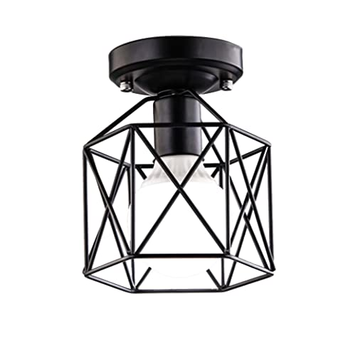 baycheer hl428266 industrial vintage style square semi flush mount ceiling light with cage use 1 e26