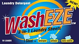 WashEZE All in One Laundry Sheets Scented 10 Ct Pkg - Detergent, Fabric Softener, Static Guard. Travel and College Friendly More Efficient and Convenient than pods, paks, liquids or powders