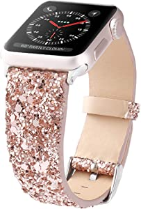 Bling Bands Compatible with Apple Watch Band 38mm 40mm 42mm 44mm Women, Iwatch Strap Shiny Bling Glitter Leather Replacement Wristband for Apple Watch Series 6 5 4 3 2 1 SE Sport Edition (Rose Gold)