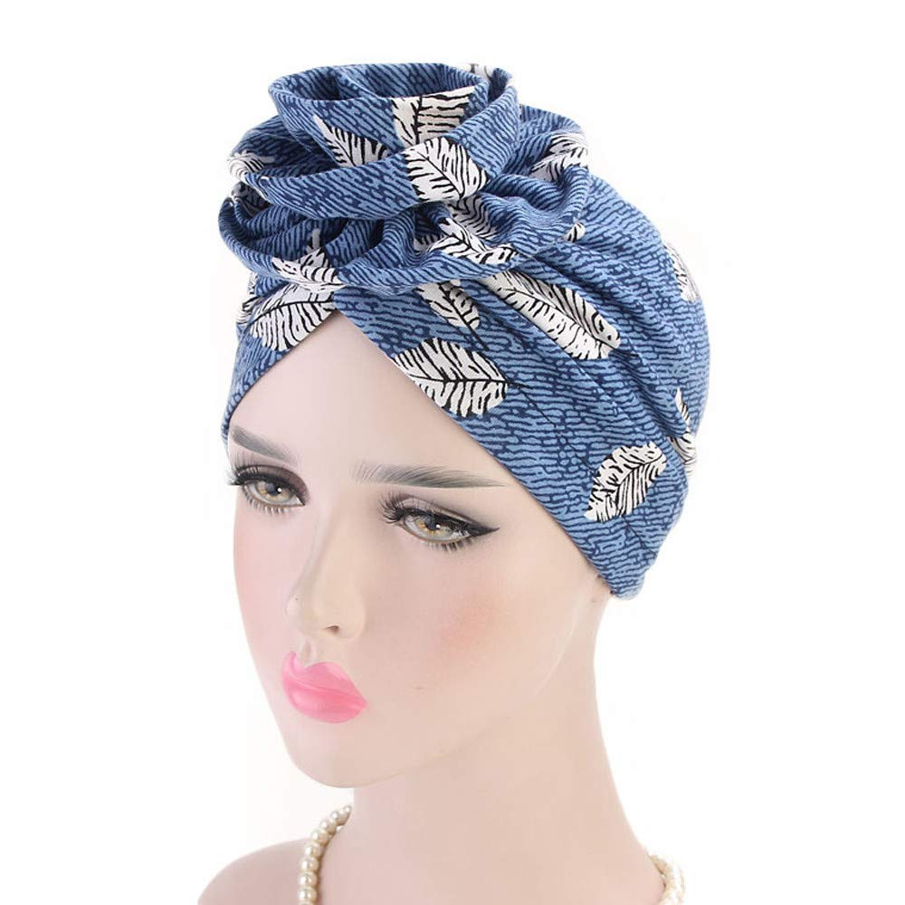 EnjoCho ❤Clearance Sale❤ Newest Beautiful Women India Muslim Stretch Turban Hat Retro Print Hair Loss Head Scarf Wrap (Wine)