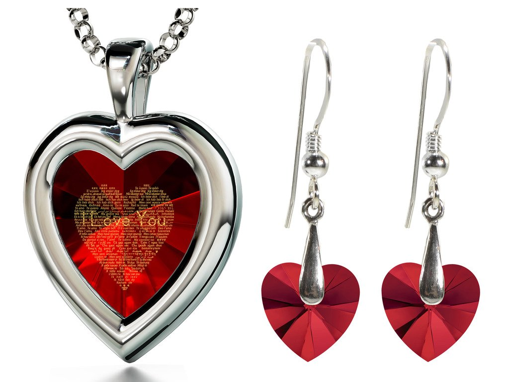 925 Silver Red Heart Jewelry Set I Love You Necklace 120 Languages CZ Inscribed and Crystal Earrings