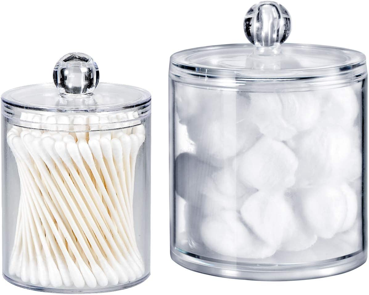 Shop Bathroom Vanity Organizer Apothecary Jars Canister Set Premium Quality Plastic Acrylic Clear from Amazon on Openhaus