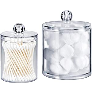 SheeChung Qtip Dispenser Holder Bathroom Vanity Organizer Apothecary Jars Canister Set for Cotton Ball,Cotton Swab,Q-Tips,Cotton Rounds,Bath Salts,Premium Quality Plastic Acrylic Clear | 2 Pack