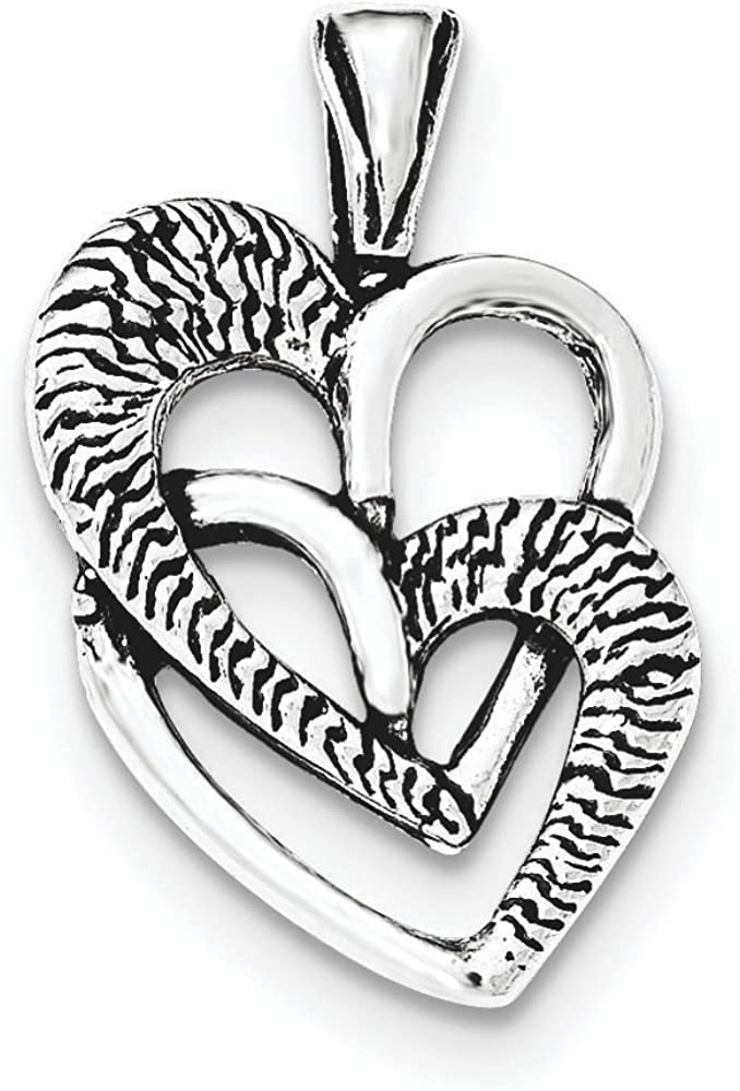 .925 Sterling Silver Antiqued 2 Hearts Chain Slide Charm Pendant