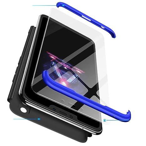 hyujia Compatible Xiaomi MAX 2 Funda(2018) Carcasa 360° Ultra Fina Protectora cojín+Vidrio Templado Pantalla Protector,3 in 1 PC Hard Caja Caso Skin ...