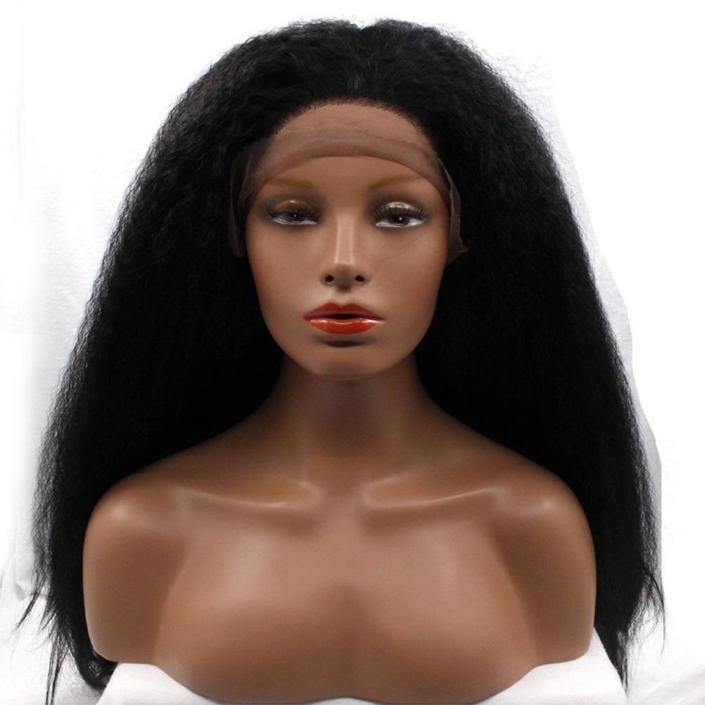 envío rápido en todo el mundo YUSHI áfrica Pelo Liso Encaje Hace Hace Hace síntesis Peluca Brasil Remy Femenino Negro Largo Pelo  protección post-venta
