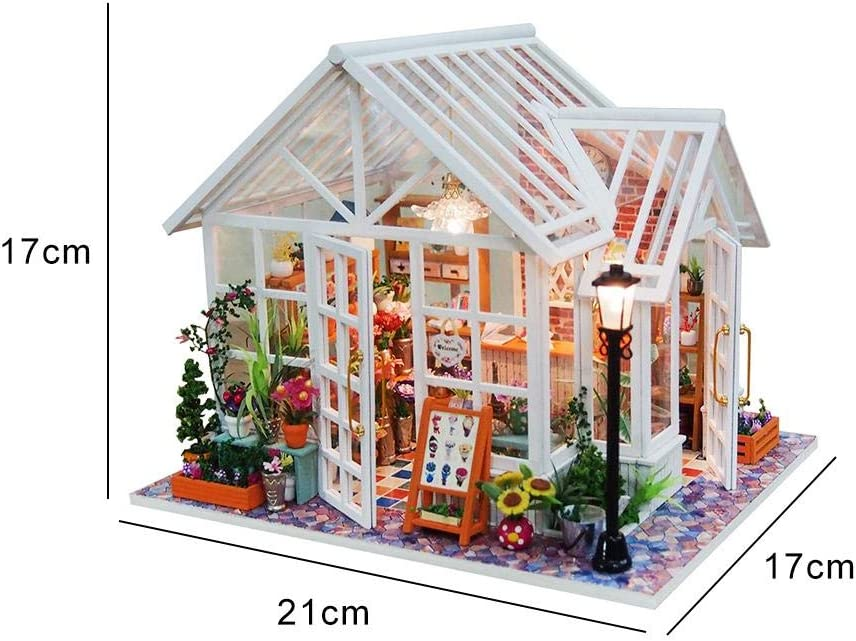 FHJZXDGHNXFGH Elegant Wooden Furniture DIY House Miniature Box Puzzle Assemble 3D Miniaturas Dollhouse Kits Toys For Children Birthday Gift