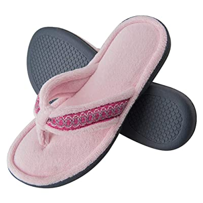 KAMOTAL Thong Flip Flop Slippers for Women, Cozy Velvet Lining Memory Foam Open Toe House Indoor Slippers with Anti-Skid Hard Rubber Sole | Slippers