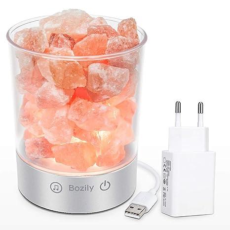 Bozily Lámpara de Sal, Piedra Rosa del Himalaya, Lámpara de Noche Táctil y Regulable, Luz Nocturna con Altavoz Bluetooth, para Yoga, Terapia, ...