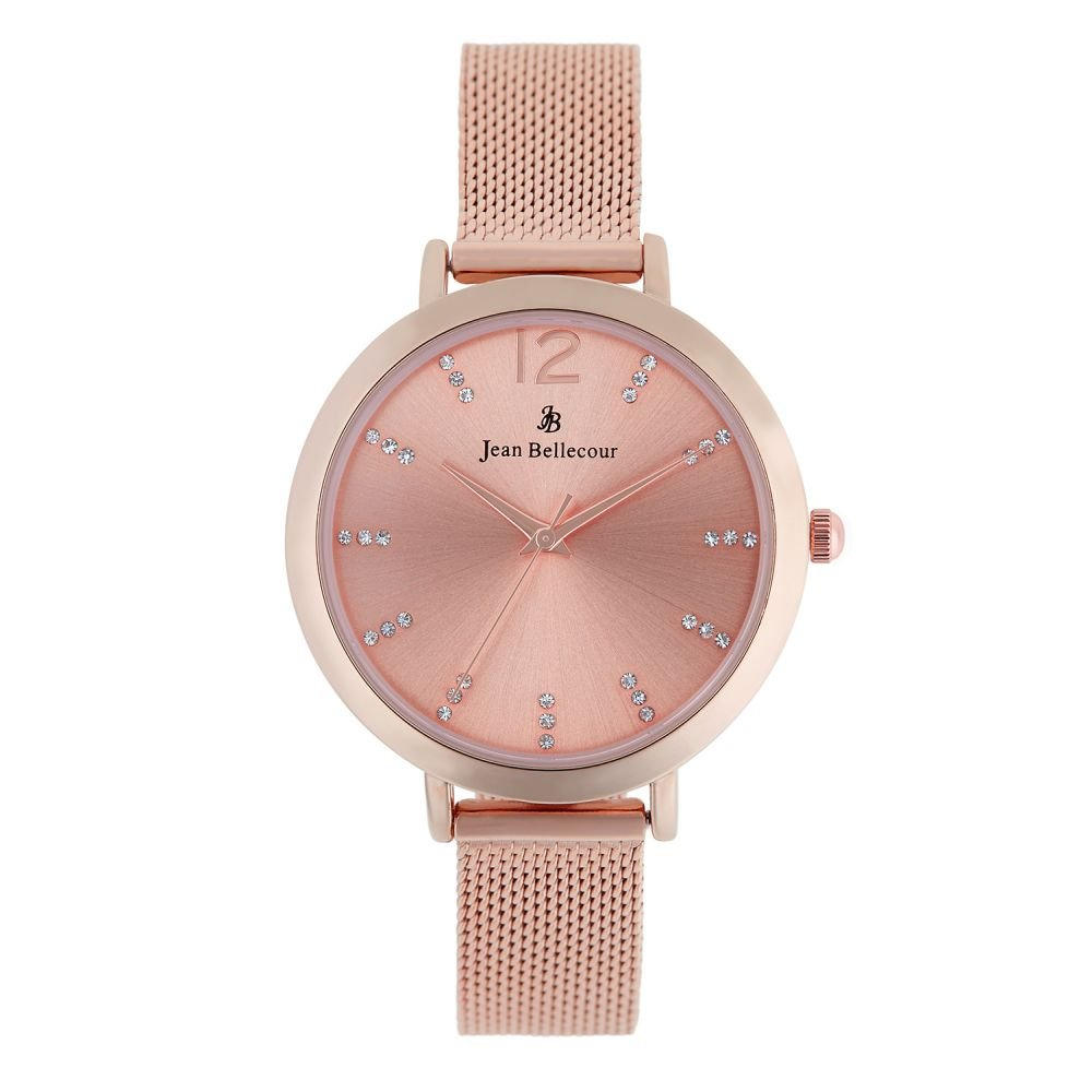 Amazon.com  Montre Femme Jean Bellecour à Quartz Cadran Rose Gold 32mm Et  Bracelet Rose Gold En Maille JB1022  Watches 80fb25a367f