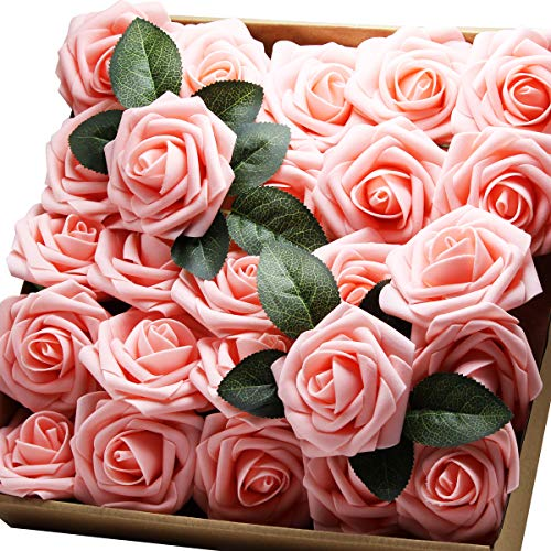 Artificial Flowers Real Touch Fake Latex Rose Flowers Home Decorations DIY for Bridal Wedding Bouquet Birthday Party Garden Floral Decor - 25 PCs