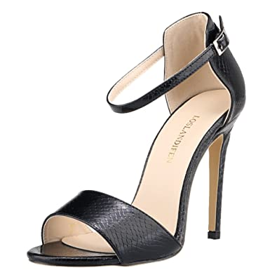 b11db4609c0d Loslandifen Women s Open Toe Ankle Straps Crocodile Pumps Court Stiletto  High Heels Sandals(102-