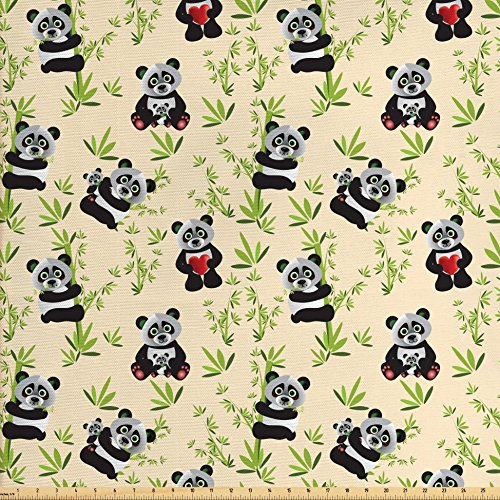 Lunarable Panda Fabric by The Yard, Big Asian Bamboo Eating Bear Chinese Cartoon Mother and Baby Wildlife, Decorative Fabric for Upholstery and Home Accents, Ivory Apple Green Black