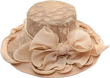 general3 Women Church Kentucky Derby Hats Large Brim Lace Mesh Bridal Tea Party Wedding Sun Hat