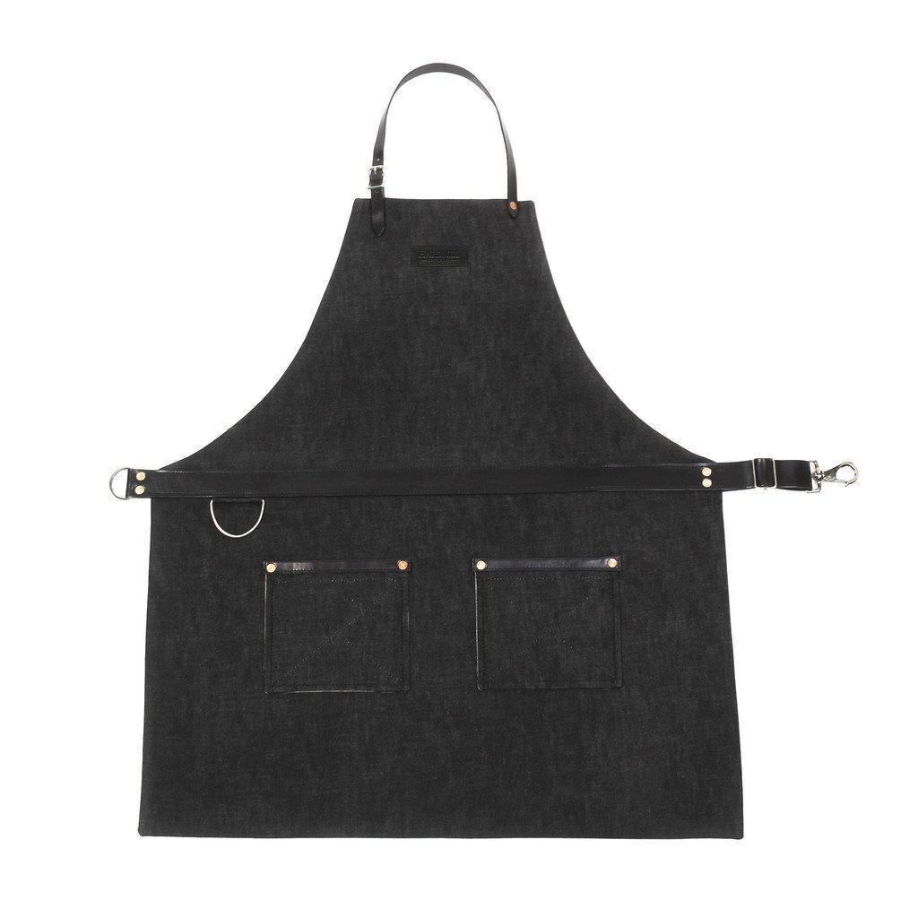 Rugged Apron - Waxed Denim - Black - Made in USA by Hardmill