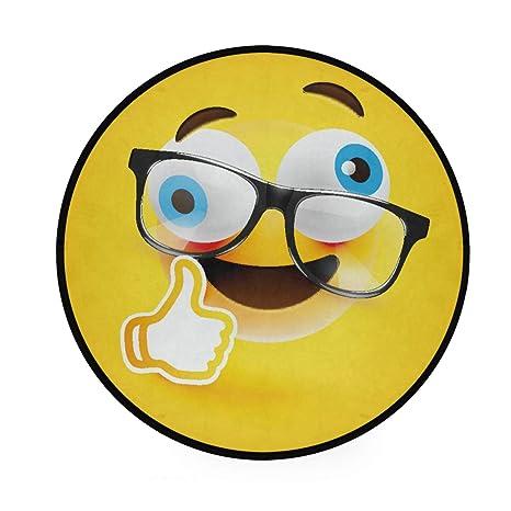 Alfombra redonda con diseño de emoticono amarillo ...