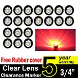"( Pack of 20 ) TMH 3/4"" Inch Mount Clear Lens RED LED Clearance Bullet Marker lights, Side LED marker lights for trailer Truck RV Car Bus Van"