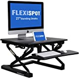 "FlexiSpot Stand Up Desk - 27"" wide Height-Adjustable Standing Desk Riser with Removable wider keyboard tray (M1B-Black)"