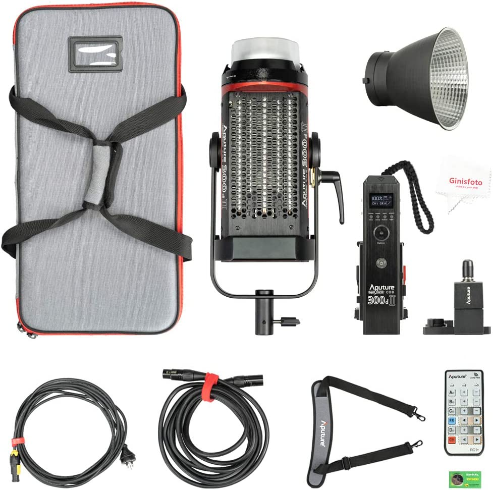 Aputure 300D Mark II C300d II Led Video Light V Mount CRI97 55000lux@0.5M 5500k Sidus Link App Control 8 Lighting Effects Wireless Remote Control with Carrying Bag and Ginisfoto Cloth TLCI97