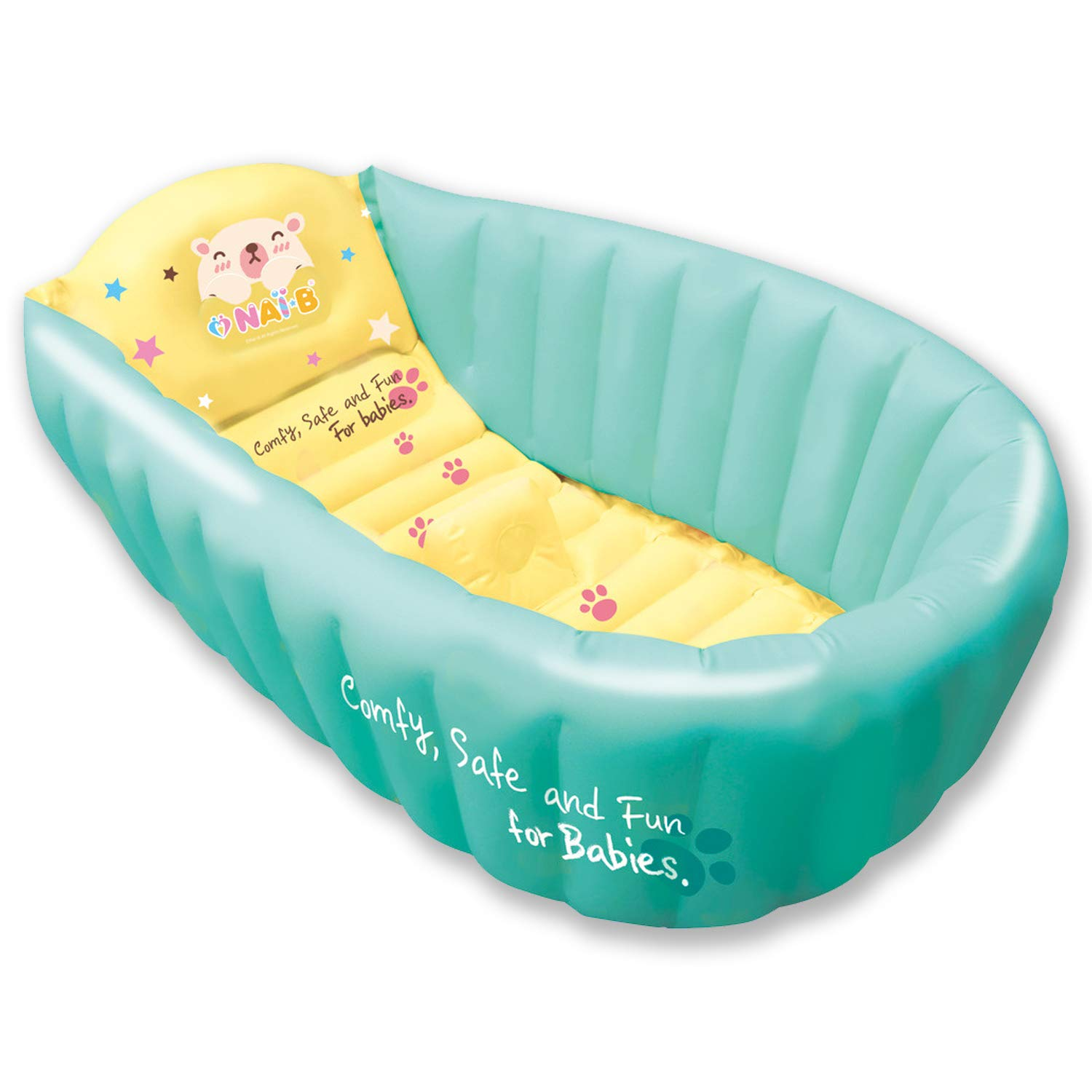 NAI-B Inflatable Baby Bath Tub. Portable and Foldable Bathtub for Infants and Toddlers. Safety Seat Mat Prevents Slipping [Mint] by Nai-B