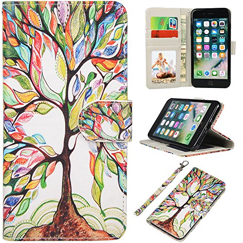 iPhone 7 Plus Case, iPhone 8 Plus Case, UrSpeedtekLive Wallet Case, Premium PU Leather Flip Case Cover with Card Slots & Kickstand for Apple iPhone 7 Plus (2016) / iPhone 8 Plus (2017) -Love Tree ()